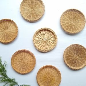 Vintage wicker woven wall art baskets decor